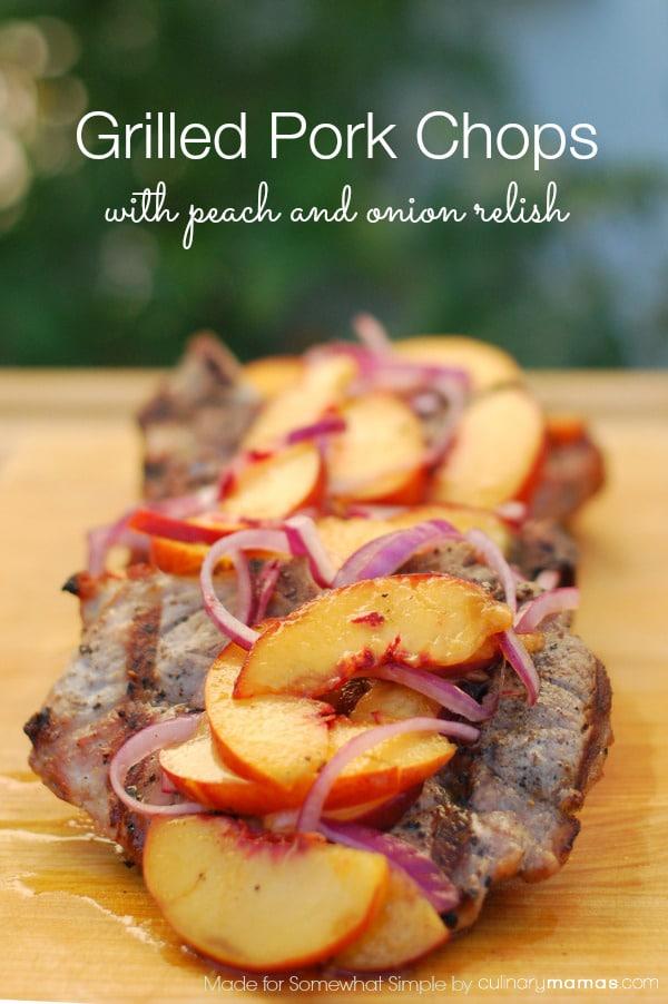 Pork Chops With Peach and Onion Relish via @somewhatsimple