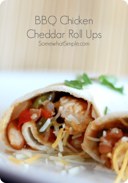 BBQ Chicken Cheddar Roll Ups via @somewhatsimple