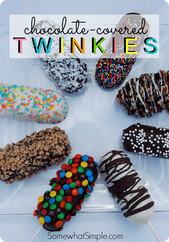 There's Only One Thing That Makes Twinkies Taste Even Better Than They Are And That's To Put Them On A Stick And Dip Them In Chocolate.  These Chocolate Covered Twinkies Are Covered In Your Favorite Toppings And Make For A Perfect Treat! via @somewhatsimple