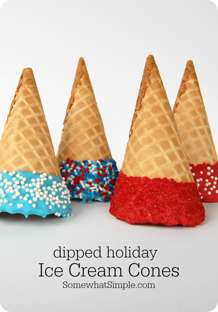 Get ready for the 4th of July, Memorial Day or any other patriotic celebration with these delicious and festive dipped ice cream cones.  They're easy to make so you can quickly serve a crowd! via @somewhatsimple