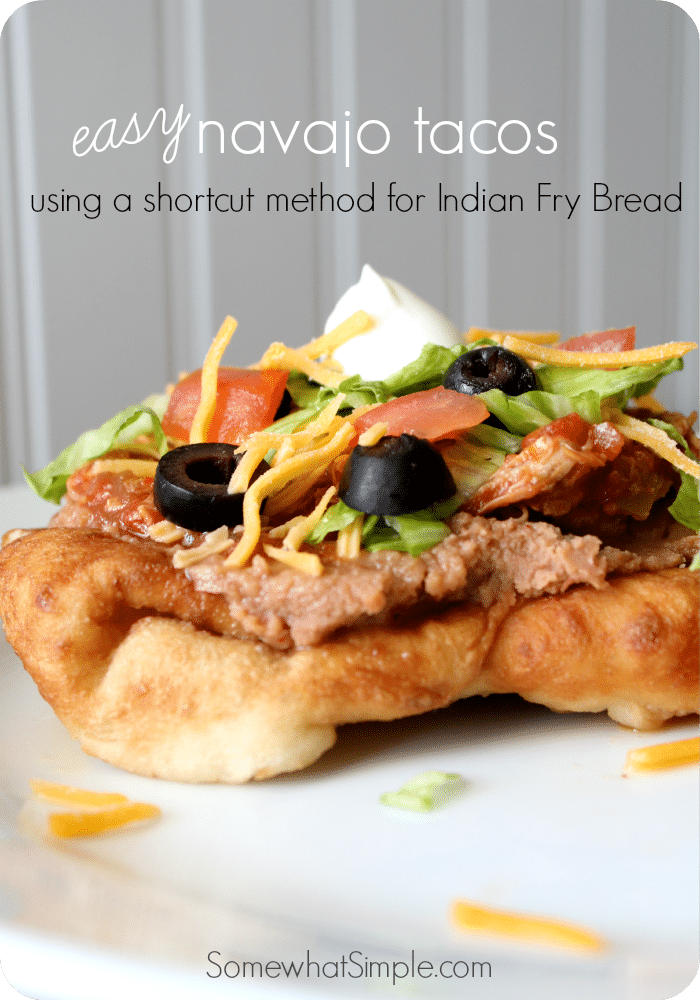 This Easy Navajo Tacos Recipe is a simple way to enjoy this delicious recipe without all of the work of making fry bread.  #navajotaco #dinnerideas #recipes #easyrecipe  via @somewhatsimple