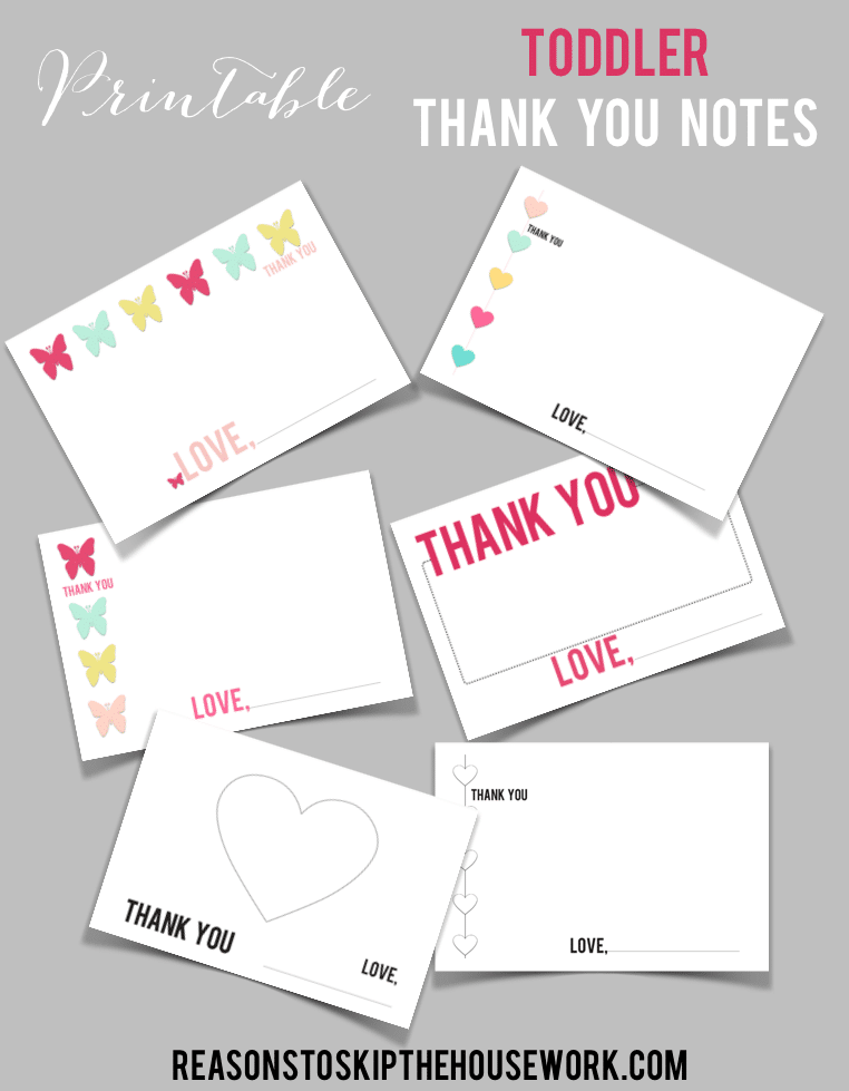 printable toddler thank you cards