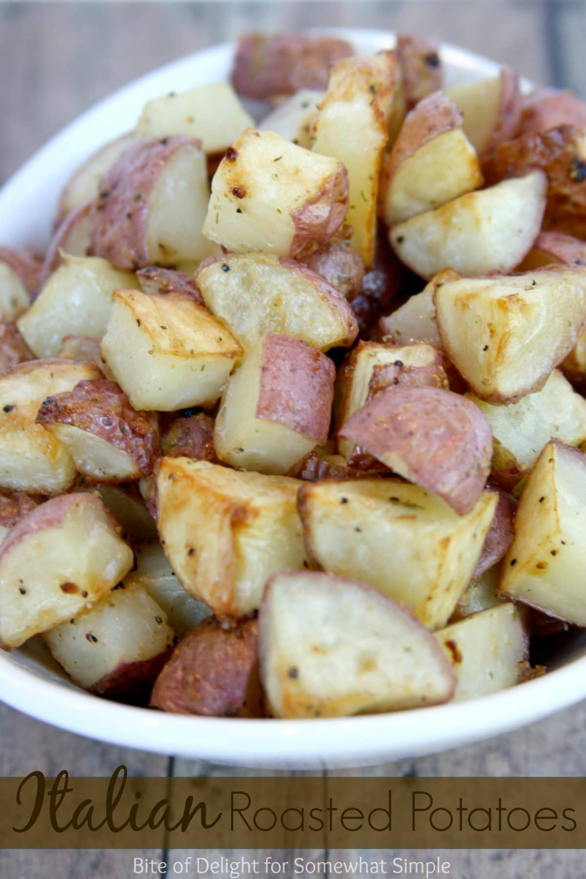 These simple, delicious roasted potatoes take just a few minutes of prep, and then they roast while you take care of the main course. #sidedish #easyrecipe #recipe #potato #dinner  via @somewhatsimple