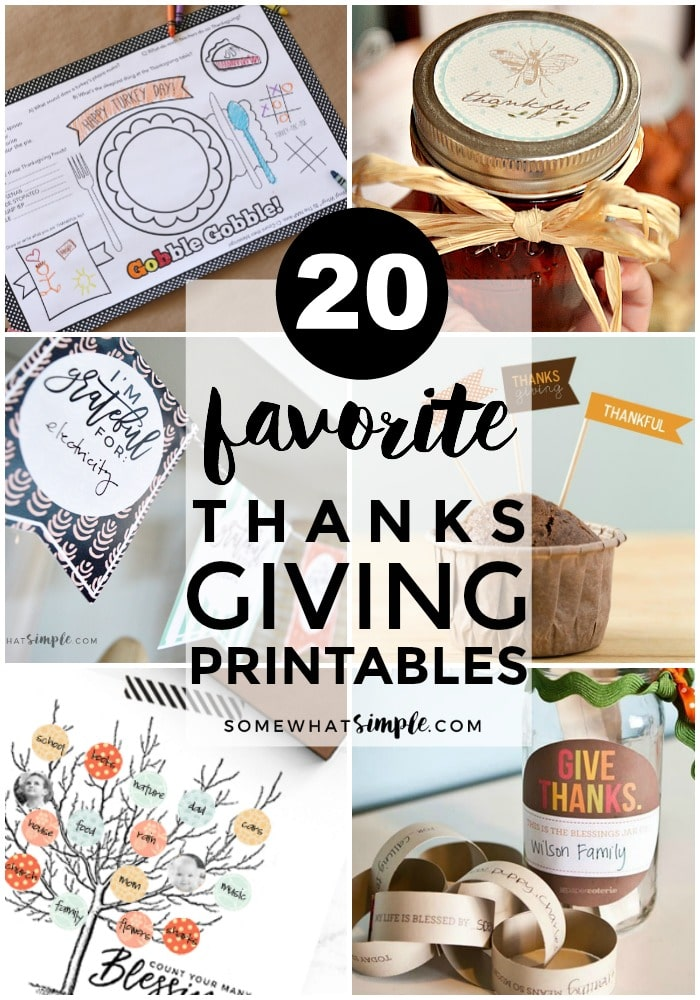 Place mats, artwork, coloring sheets and more - here are 20 of our favorite Thanksgiving printables!  via @somewhatsimple