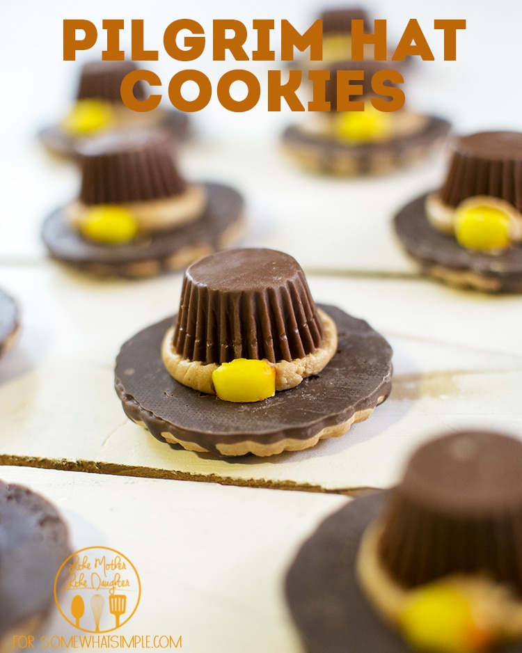 These Pilgrim Hat Cookies Are A Fun Dessert Idea For Thanksgiving.  They Don't Require Any Baking So They Are Impossible To Mess Up.  In Just A Few Easy Steps You'll Be Able To Make A Plate Full Of These Delicious And Adorable Cookies. #pilgrimhatcookies #thanksgivingcookies #thanksgivingdessert #nobake #easyrecipe via @somewhatsimple