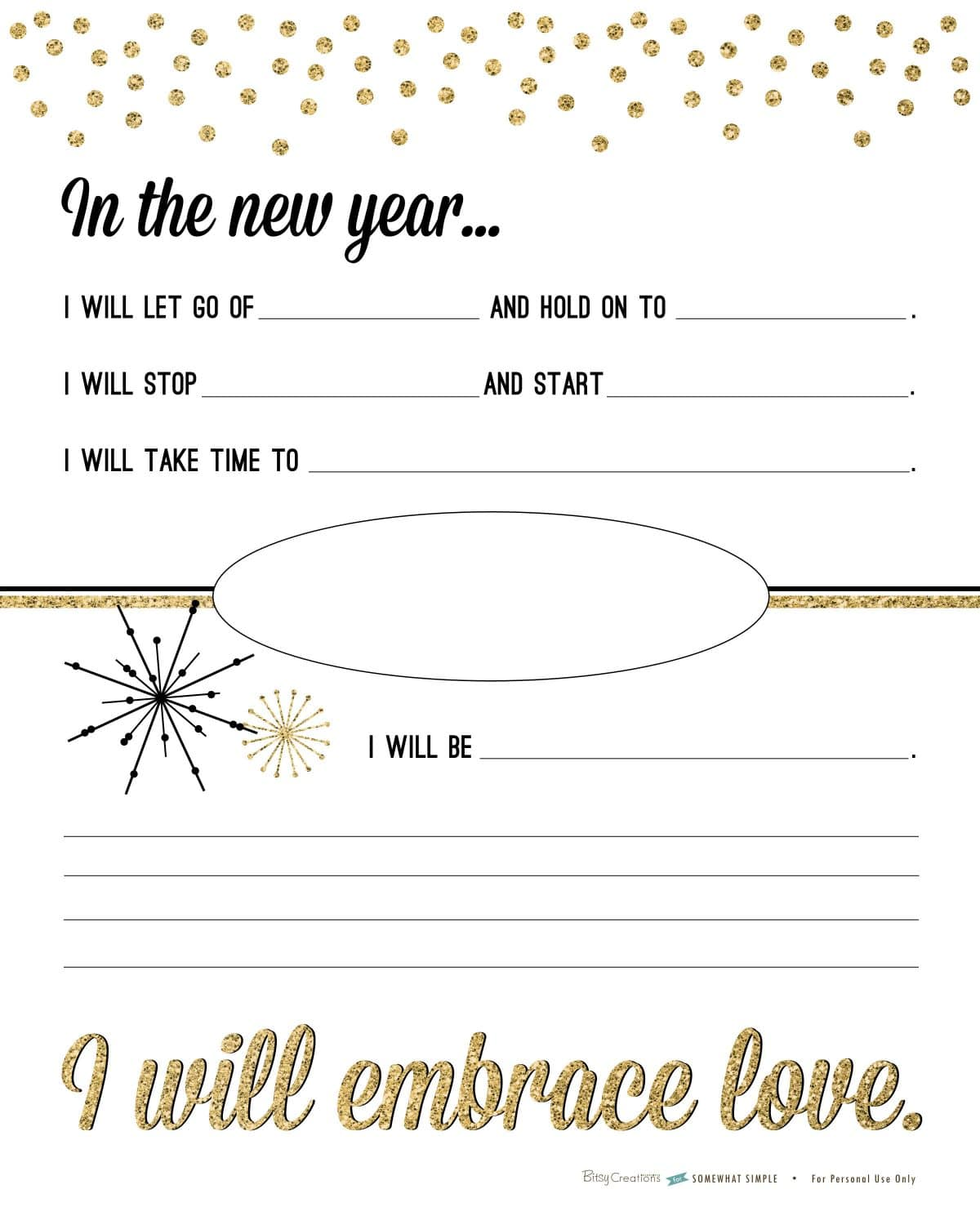 Free New Years Resolution Printable Somewhat Simple – New Years Resolution Worksheet