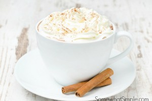 cup of cocoa with cinnamon and whipped cream horizontal