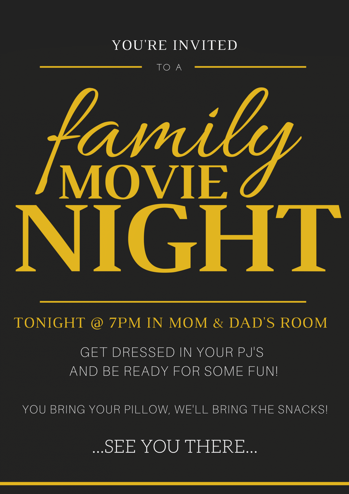 family movie night invitation tickets somewhat simple