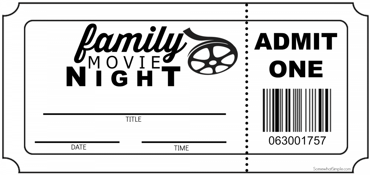ticket print fill in your own for family movie night ticket print