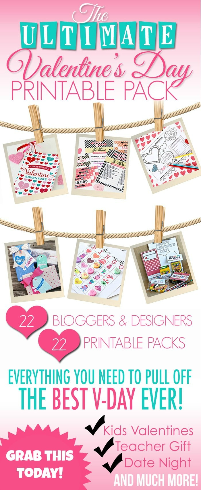 Valentines Day Printable Pack from Somewhat Simple