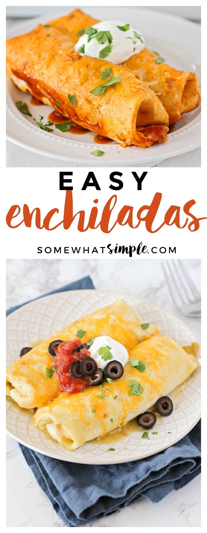 Making enchiladas doesn't have to be something that takes all day and requires a ton of ingredients!!! Here is our easy enchiladas recipe with the BEST homemade AND store-bought enchilada sauces. (And trust me, we've tried them ALL!) #enchiladas #dinner #recipe #enchiladas