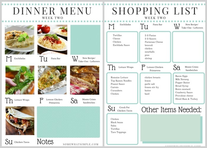 Pages 1 2 Feature The Weekly Calendar And The Shopping List
