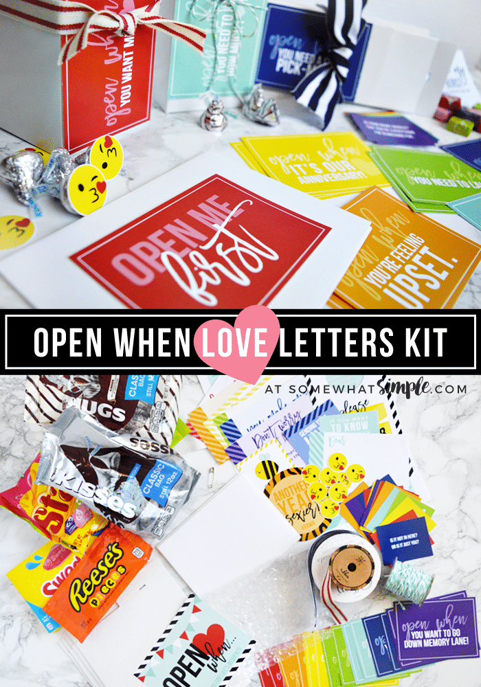 Open When Letters DIY Kit - A Fun Way To Write Love Letters: This colorful kit is so simple, fun, and absolutely thoughtful! A great way to show that special someone in your life how much you love them! #love #openwhen #letters #printable #anniversarygifts #longdistancerelationship #valentinesday #giftidea