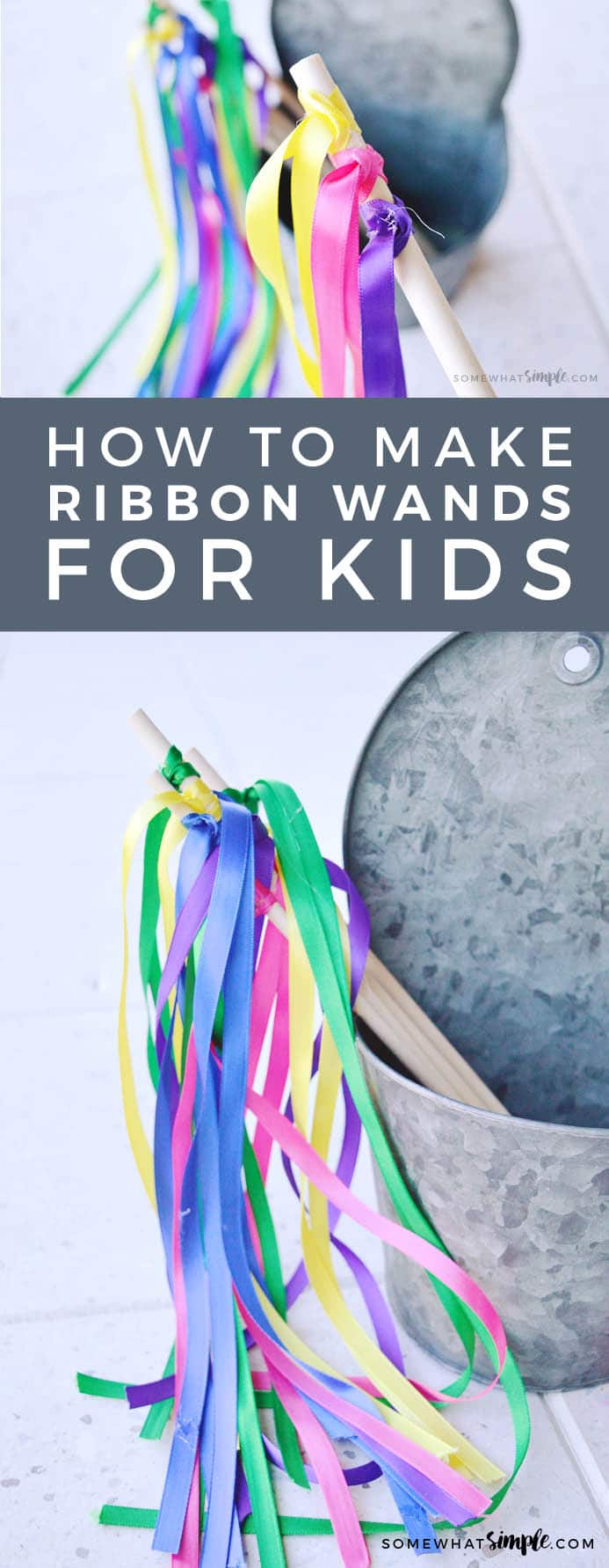 EASY 5 minute DIY ribbon wands.  Here is a simple and easy tutorial on how to make ribbon wands that your kids will love! #ribbonwands, #howtomakeribbonwands #kidscrafts #easy #fairywand #streamerwands #wand #diywand #videotutorial