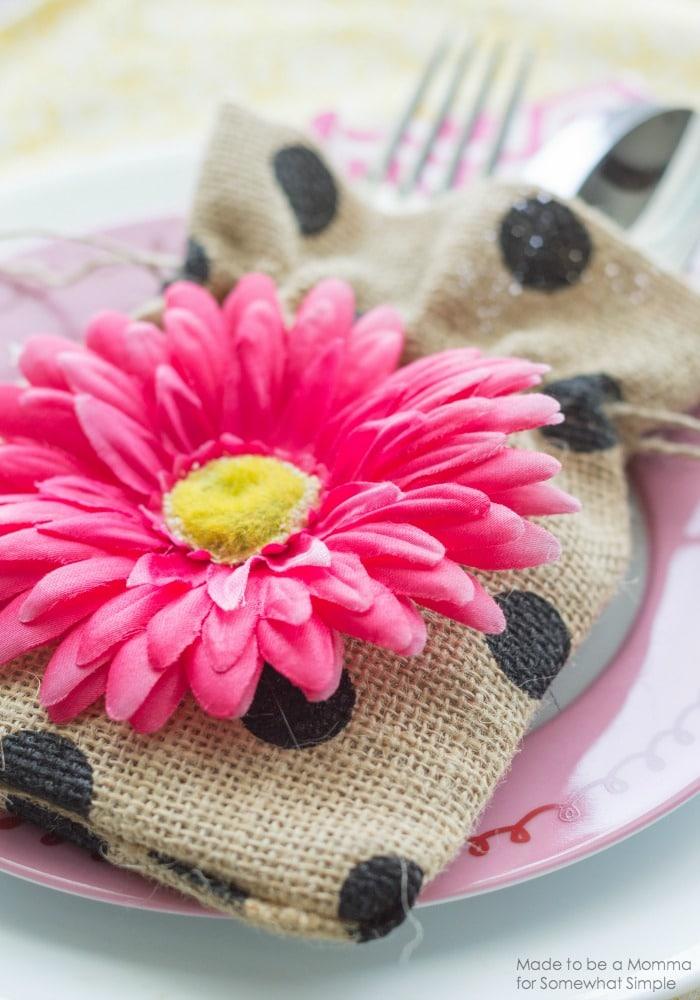 Floral Burlap Bag