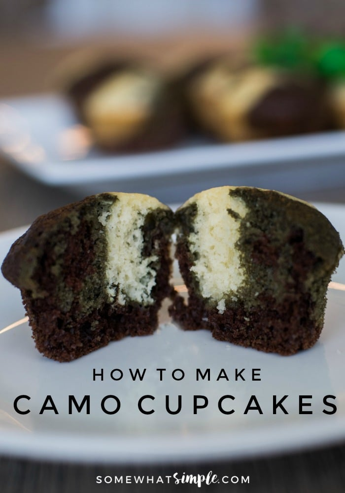 Army cupcakes are a perfect festive treat to celebrate the homecoming of a special service man or woman, or for your son's army birthday party! #armycamocupcakes #cupcakes #easyrecipe #video #camocupcakes #armycupcakes via @somewhatsimple