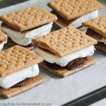 a baking sheet filled will oven baked S'mores that were made inside