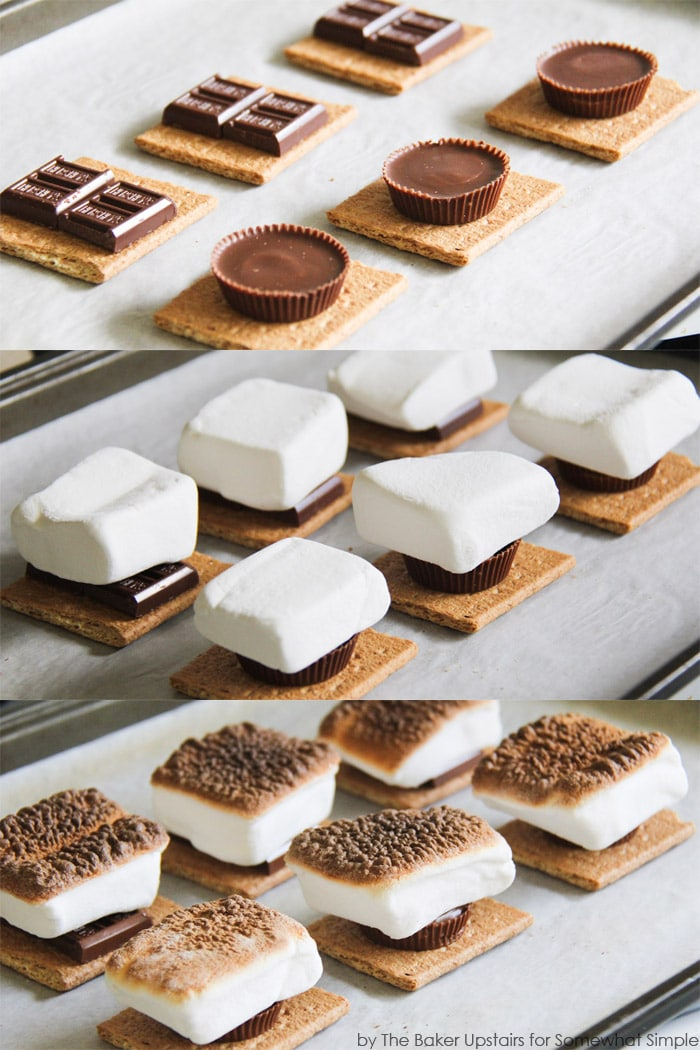 a step by step collage showing how to make s'mores indoors in your oven