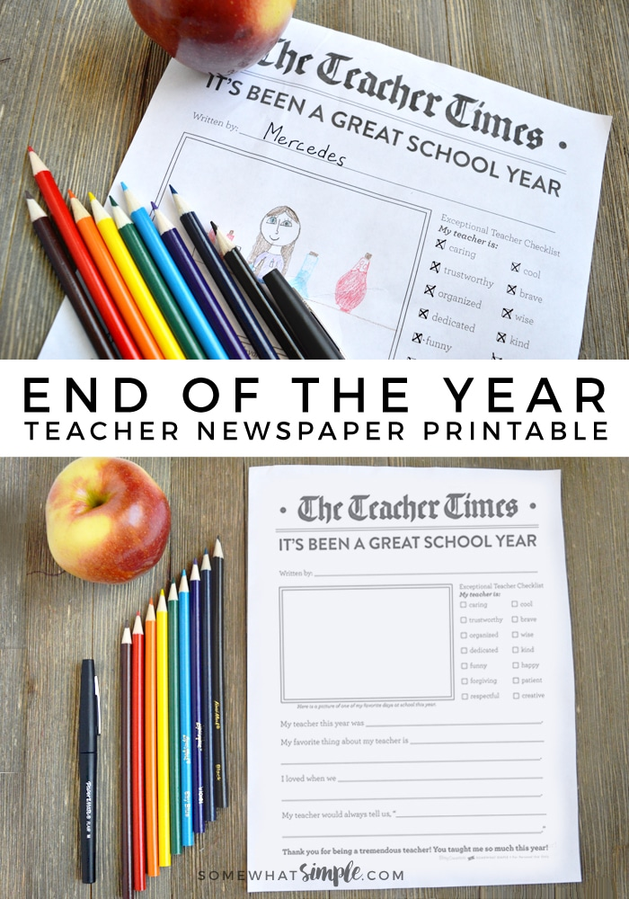 This End of the Year Teacher Newspaper is a great way for kids to tell their teachers thanks for being so awesome! via @somewhatsimple