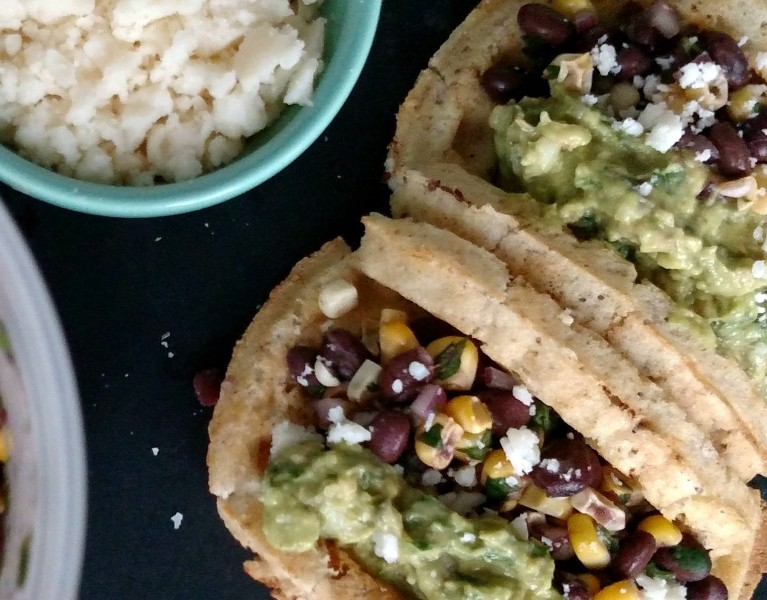Quick & Easy Veggie Waffle Tacos with Grilled Corn Bean Salad & Fresh Guacamole