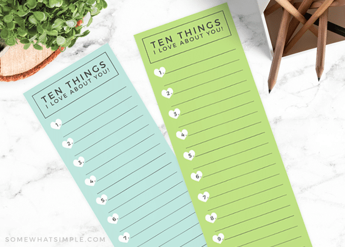 10 things I love about you for mom or dad cards free printable