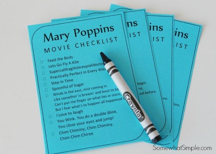 Mary Poppins family Movie Night activity printables