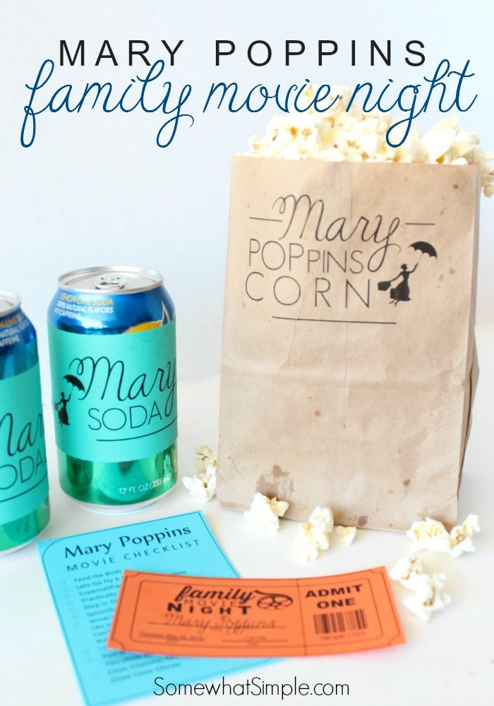 Get ready for the ultimate Mary Poppins family movie night with free printables from the classic Disney movie. #marypoppins #movienight #printables #familymovies  via @somewhatsimple