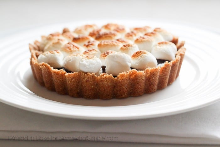 Mini S'mores Tart on a white plate with toasted marshmallows