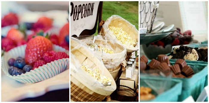baby shower food ideas using fruit, popcorn and choclate