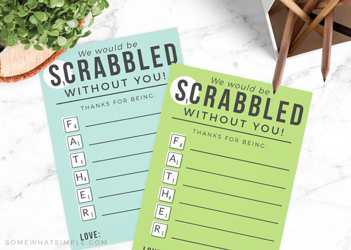 Scrabble Printable Fathers Day Cards
