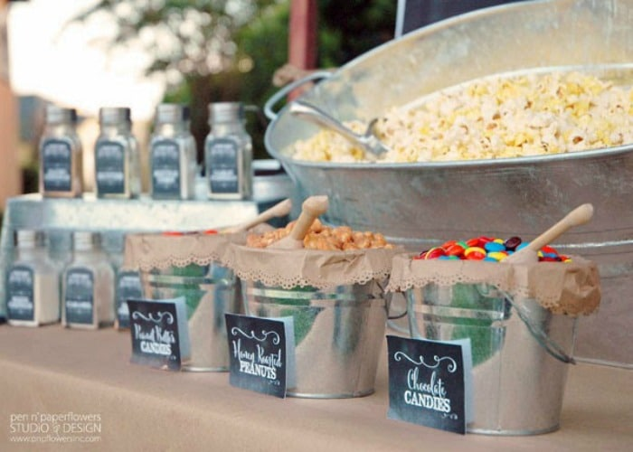 this popcorn and candy bar make a perfect dessert idea for a summer bbq