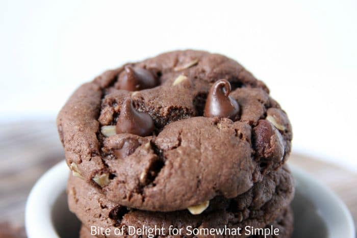 a stack of fudgy Devil's Food Cake Cookies make using your favorite cake batter