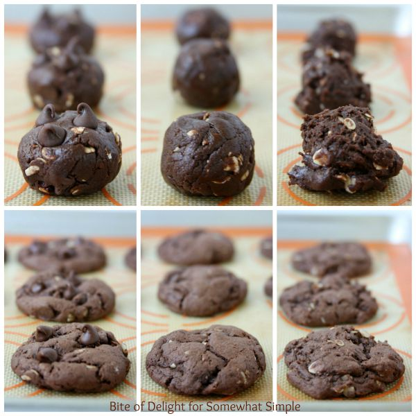 balls of three different kinds of devil's food cake batter on a cookie sheet and below them are the fully baked devil's food Cake Mix Cookies made using this easy recipe