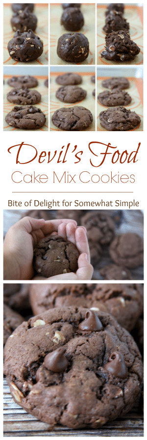 a collage of devil's food Cake Mix Cookies