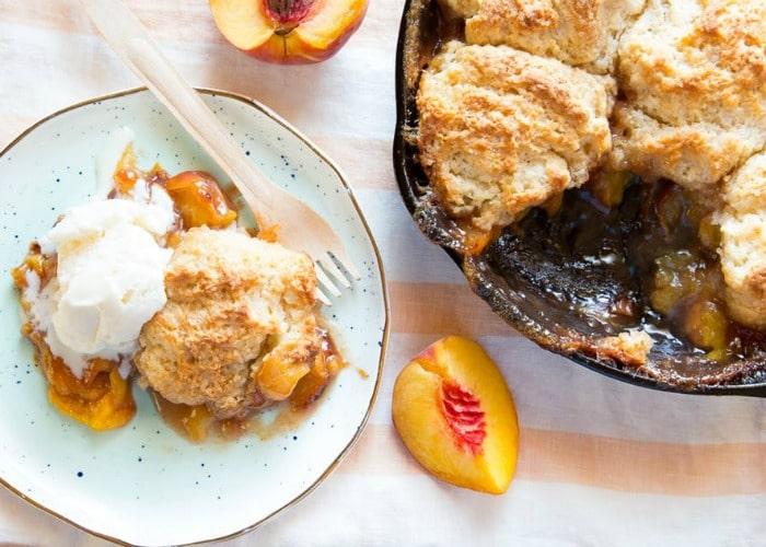 Peach Cobbler is the best dessert to make when camping