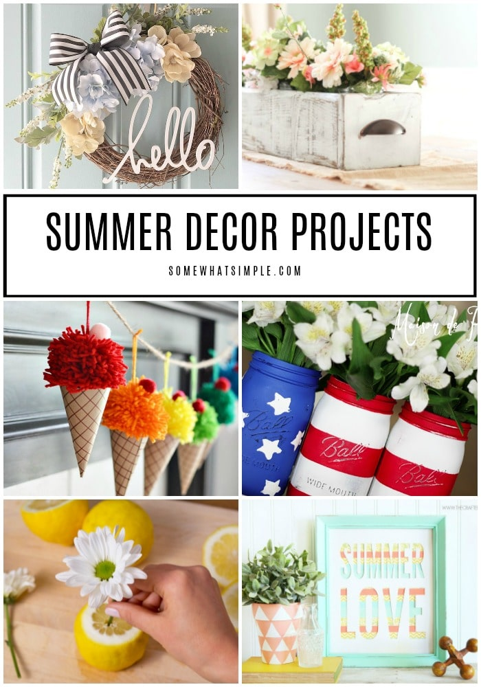 Freshen up your home this summer with some fun summer DIY projects! We're sharing 20 of our favorite summer decorating ideas you can make for your home today!  #summer #decor #DIY #projects via @somewhatsimple
