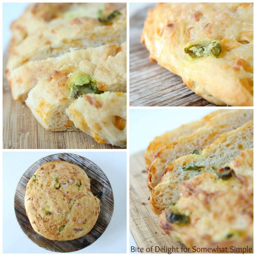 a collage of Cheddar Jalapeno peasant Bread