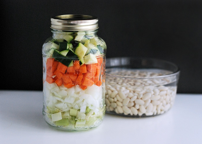 chopped vegetables and beans