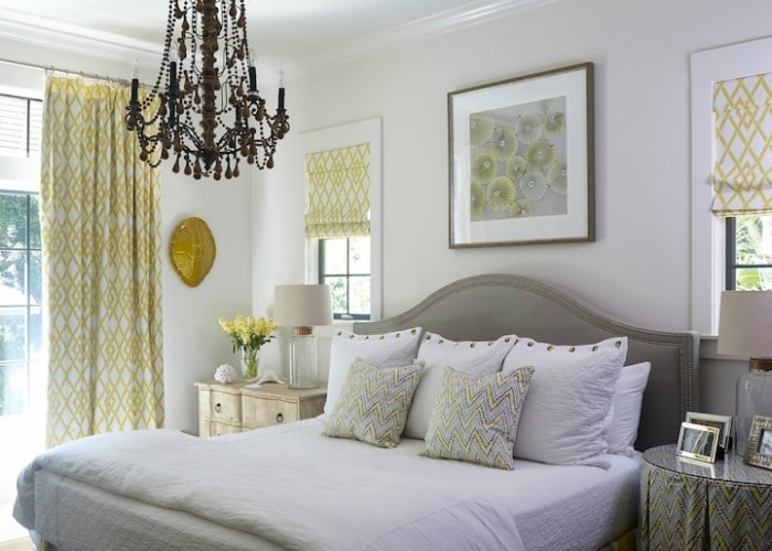 yellow and gray master bedroom