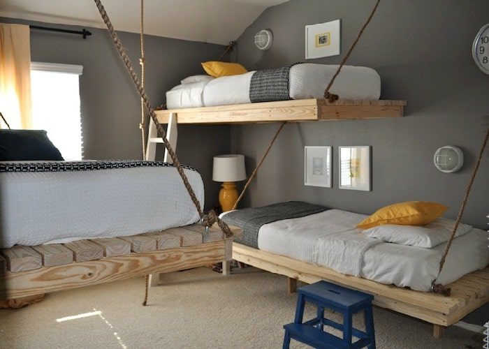 yellow and gray boys bedroom
