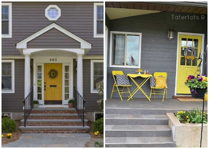 yellow and gray front porch