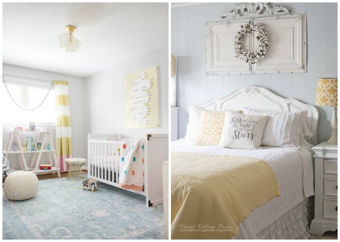 gray and yellow bedrooms