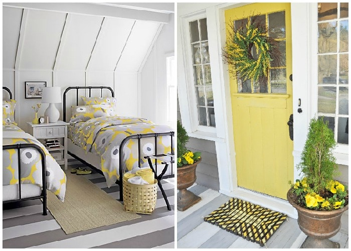 gray and yellow bedroom decor