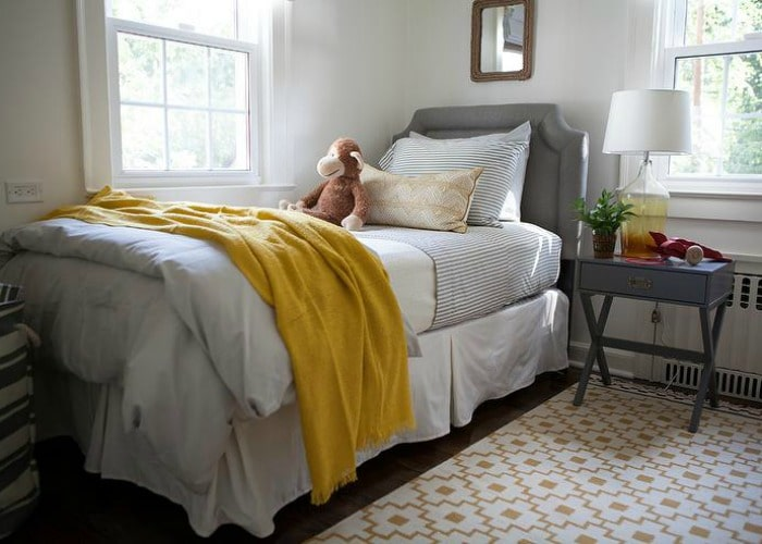 yellow and gray bedroom for boys
