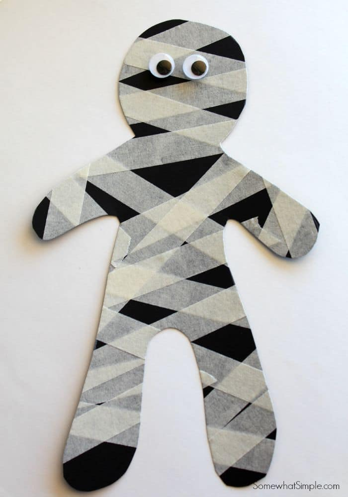 Masking Tape Mummy - fun little Halloween kids craft for parties!