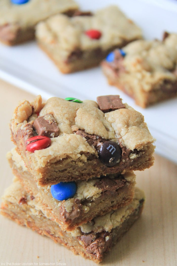 Candy Bar Blondies squares stacked