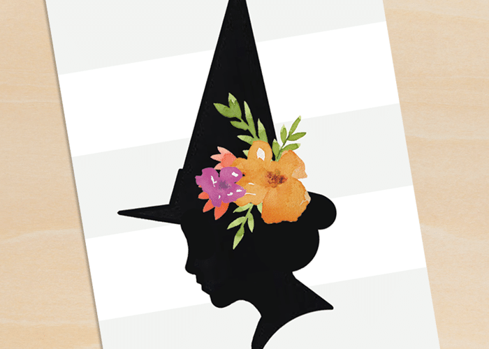 floral witch silhouette printable