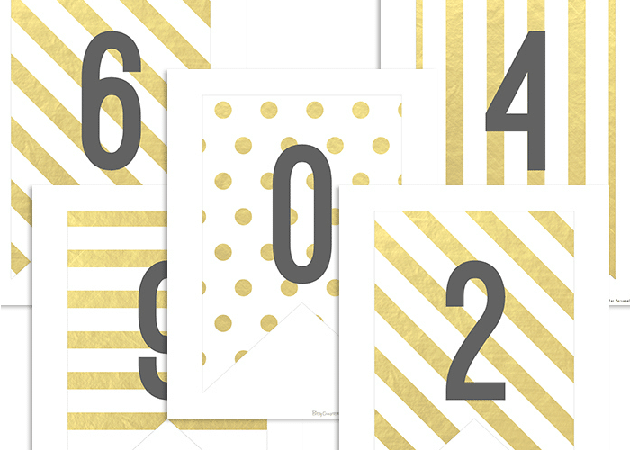 Free Printable Gold Banner Numbers