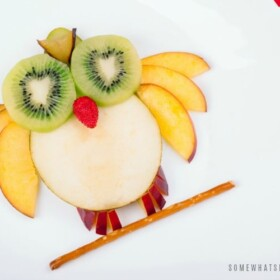 a bird made with slices of apples, kiwi, grapes and a pretzel is a fun Snack for Kids