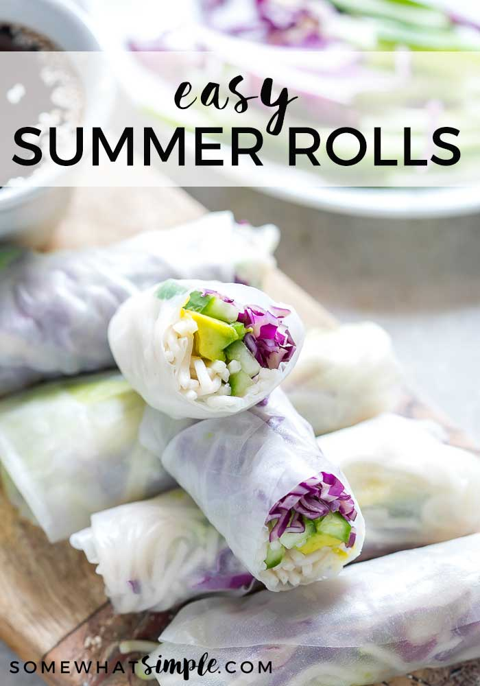 These summer rolls are super easy make and are perfect for either lunch or dinner!  These rolls are super healthy and are vegan, gluten and nut-free so just about anyone an enjoy them! #summerrolls #authenticsummerrolls #glutenfree #vegan #nutfree #vietnamesesummerrolls via @somewhatsimple